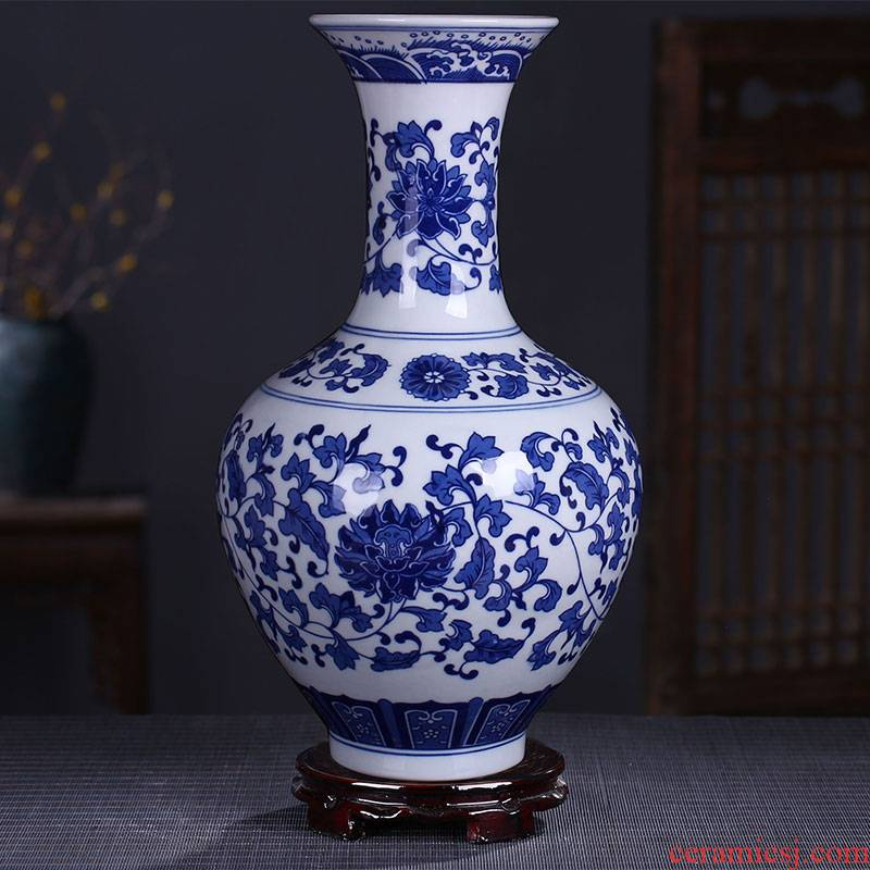 Antique vase of blue and white porcelain of jingdezhen ceramics contracted fashion home sitting room adornment handicraft furnishing articles