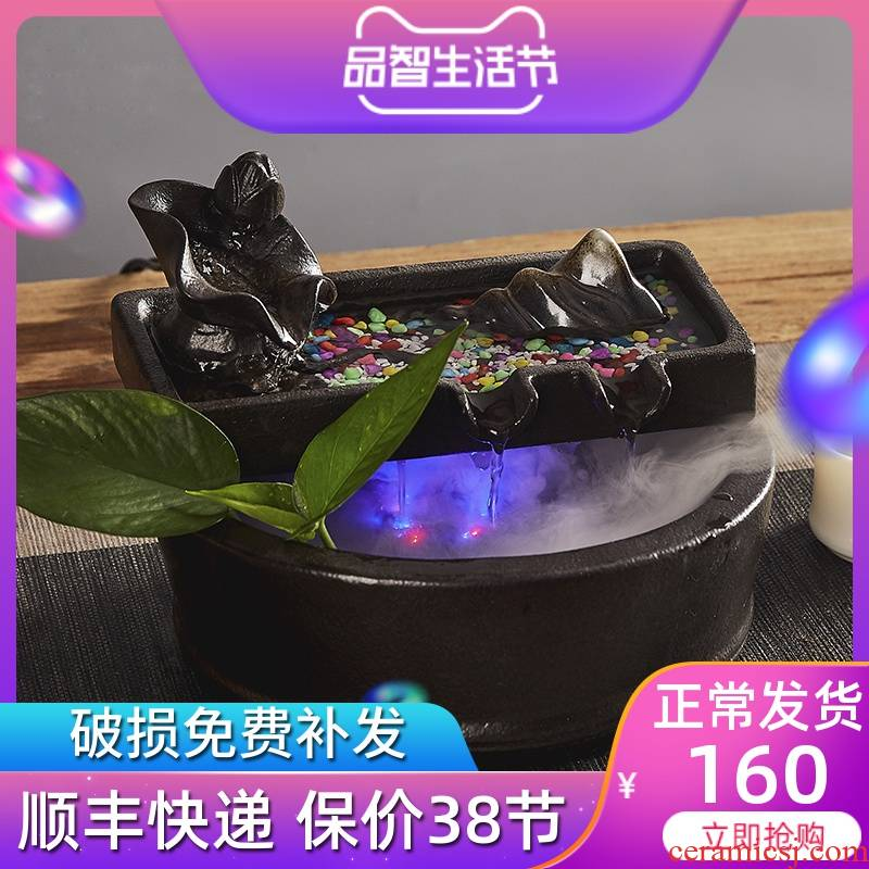 Ceramic water furnishing articles office desktop goldfish bowl sitting room feng shui wheel lucky fish tank humidifier lotus pond and clear