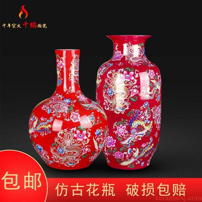 Jingdezhen ceramics vase landing red phoenix grain idea gourd tree modern Chinese sitting room place flower arrangement