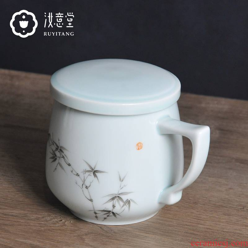 Jingdezhen ceramic glass mugs with cover large capacity office white porcelain cup celadon male Chinese tea cup