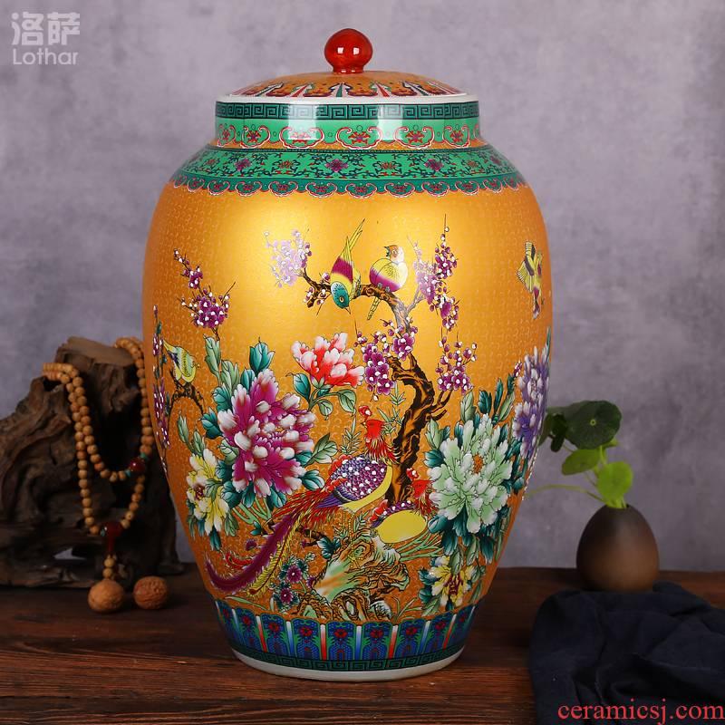 Jingdezhen ceramic barrel barrels 20 jins 30 jins 50 kg of household moistureproof with cover oil cylinder cylinder tank surface tea cake tin