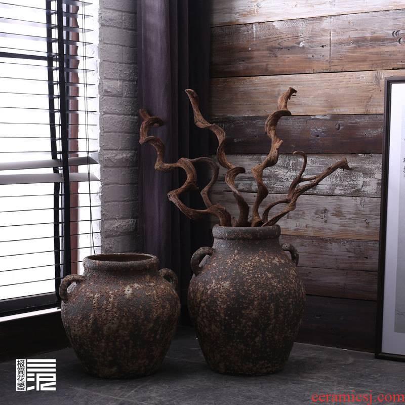 Jingdezhen manual coarse pottery big POTS retro black zen Chinese ceramic vase household soft adornment furnishing articles