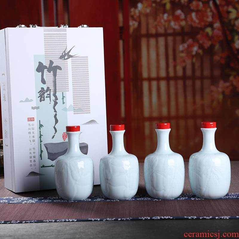 The Empty wine bottles of jingdezhen ceramic household hoard 1 catty seal wine liquor hip flask wine storage appliances gift