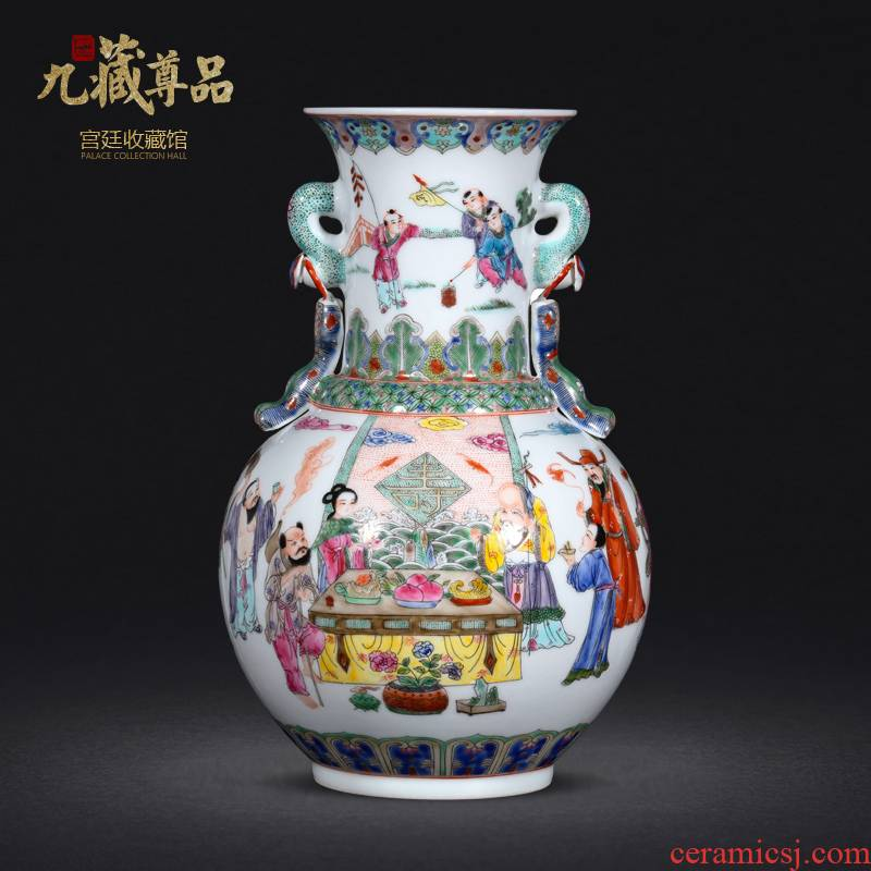 Jingdezhen ceramic vase furnishing articles of Chinese style home sitting room porch TV ark, rich ancient frame handicraft decorative flower arrangement