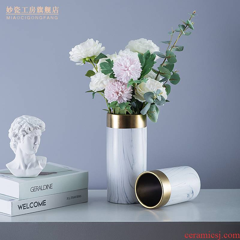 Marble ceramic vase ins Nordic style of the sitting room put dry vase decoration flower implement table furnishing articles soft outfit