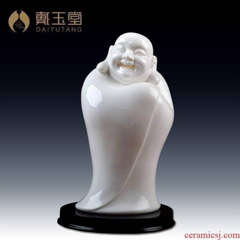 Yutang dai laughing Buddha white marble porcelain dehua ceramic handicraft collection/8 inches primer D01-044