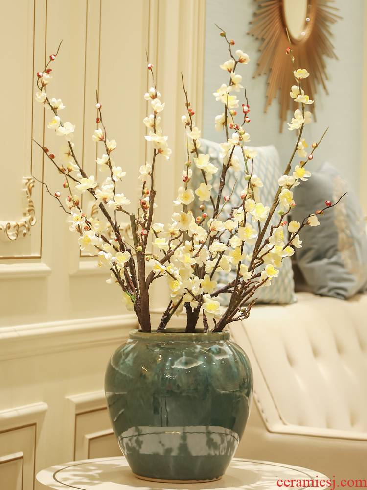 New Chinese style ceramic sitting room between desktop simulation flower villa decoration vase example flower, flower adornment furnishing articles