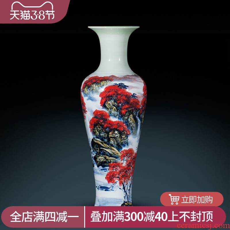 Jingdezhen ceramics Chinese hand - made landing big vase home sitting room hotel furnishing articles large red ornament
