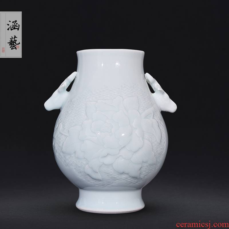 Jingdezhen ceramics celadon jade carving peony f tube of new Chinese style living room place flower decoration craft gift