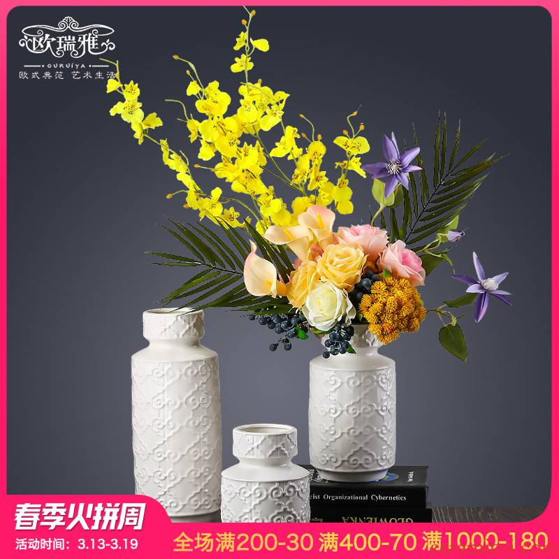 I and contracted sitting room of the new Chinese style household household dried flowers flower arrangement table decorations ceramic vases, suit furnishing articles