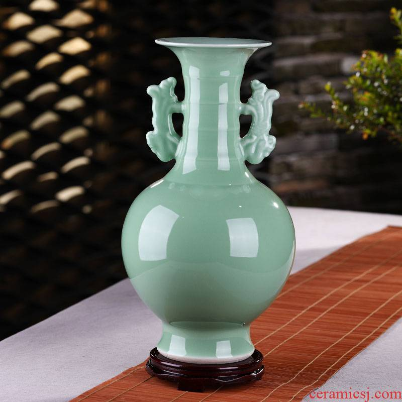 Jingdezhen ceramic film blue glaze vase archaize of new Chinese style household porch furnishing articles rich ancient frame handicraft ornament