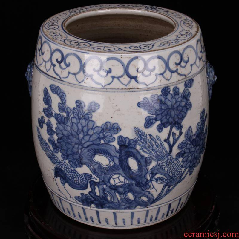 Jingdezhen antique reproduction antique folk blue and white barrel cylinder can collect old items hand - made Chinese style classical decoration furnishing articles