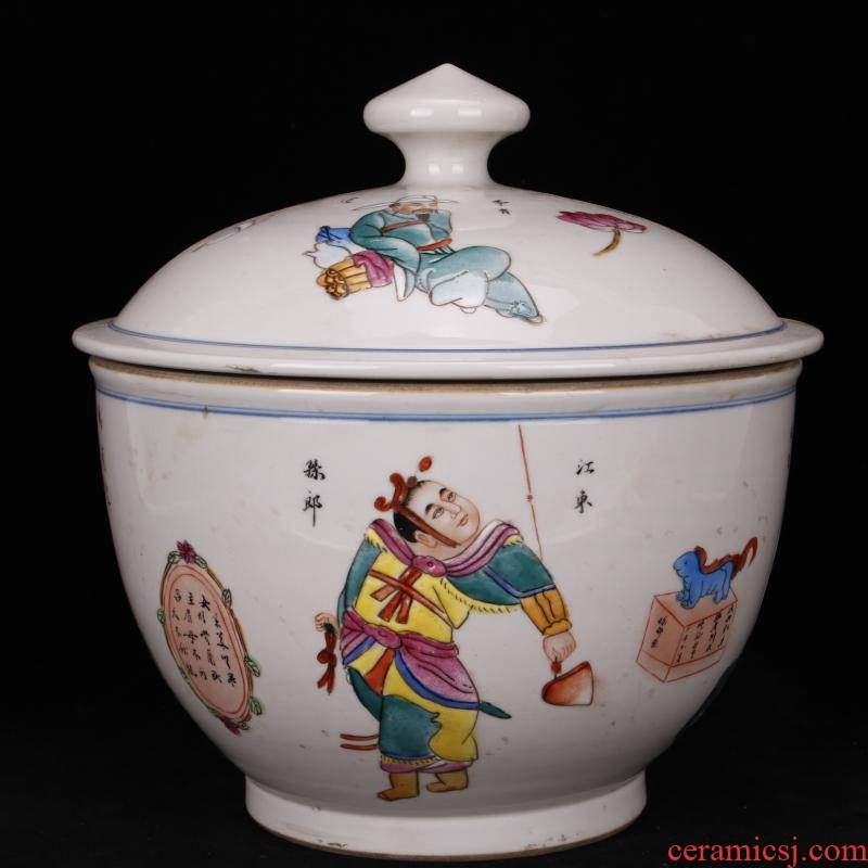Jingdezhen imitation the qing xianfeng years antique antique checking figure figure fine large furnishing articles cover pot folk collection