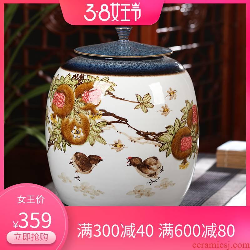 Hand - made ceramics caddy fixings ceramic 10 jins pu 'er tea storage large tea caddy fixings tea box cylinder seal