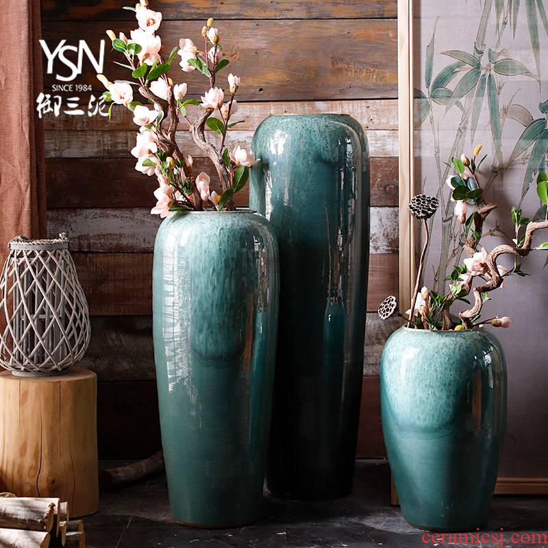 Pottery decorative furnishing articles the I and contracted Norway forest north dry flower ceramic vases, sitting room ground flowerpot flower arrangement