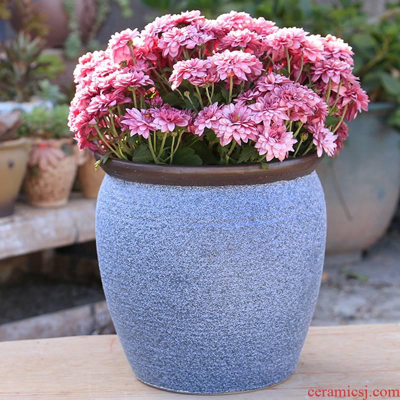 Coarse pottery large - diameter fleshy green plant garden flowerpot contracted ceramic oversized rich tree flowers high Lao - zhuang POTS