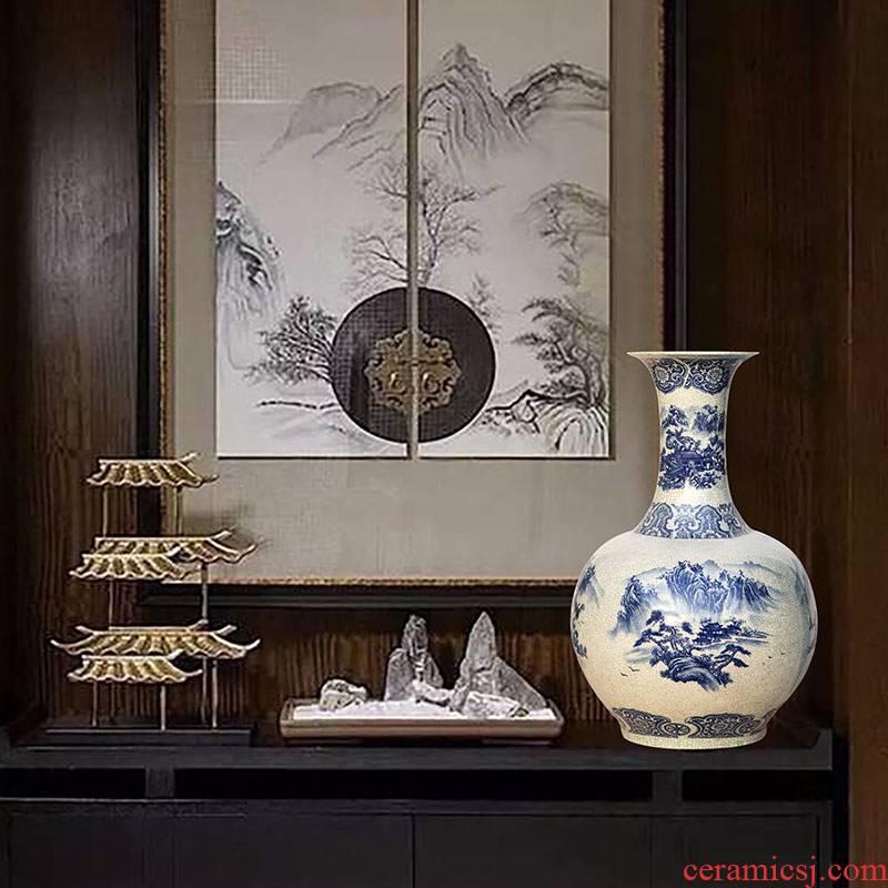 Jingdezhen ceramics ground crack open the slice glaze porcelain vase large bottles of landscape figure Chinese style living room decoration