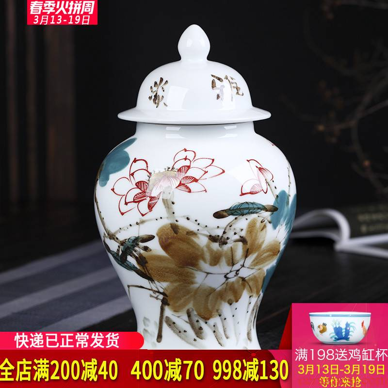 Jingdezhen ceramics master hand draw freehand brushwork in traditional Chinese lotus the general pot of new Chinese style living room porch decoration furnishing articles