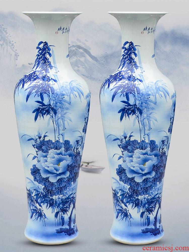 Jingdezhen ceramic hand - made large blue and white porcelain vase peony flower arranging furnishing articles 1.2 meters of extra large living room