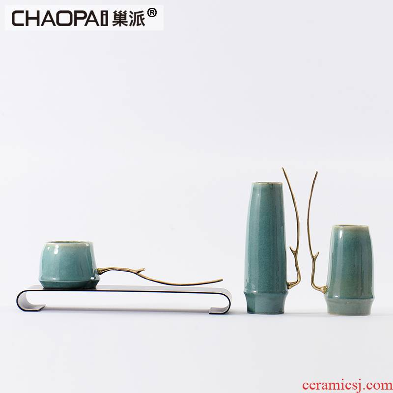 The New Chinese zen postmodern home furnishing articles porch tea table teahouse green ceramics handicraft decoration