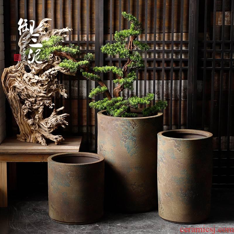 Coarse pottery jars retro large vase courtyard ceramic VAT landing tank flowerpot tank yard villa