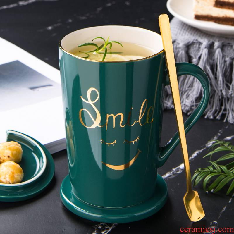 Creative European household ceramic cup mark cup with cover spoon coffee cup move trend couples glass gift boxes