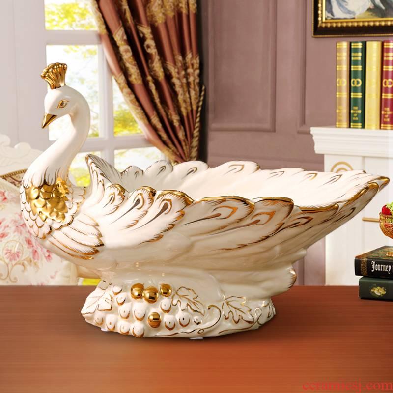 Creative key-2 luxury European - style compote ceramic handicraft sitting room porch TV ark, peacock ornament furnishing articles tea table