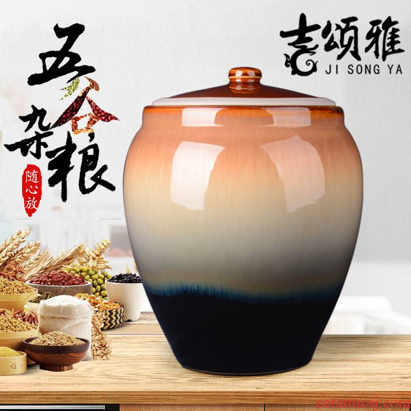 Jingdezhen ceramic barrel 30 kg to with cover flour barrels of insect - resistant moisture meters storage box sealed storage tank in the kitchen