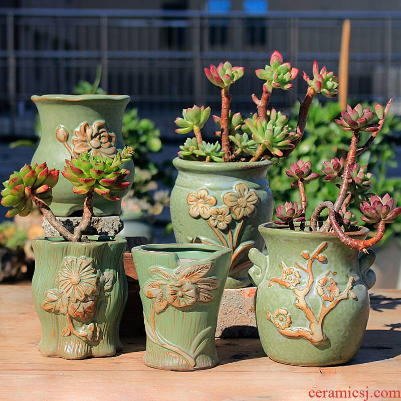 Old running the flowerpot special ceramic creative move, fleshy contracted flesh zhuang zi pottery basin of coarse pottery mage high restoring ancient ways