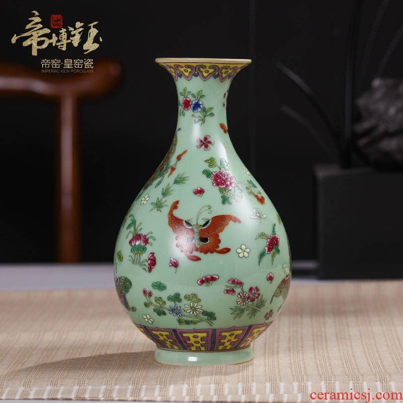 Jingdezhen ceramics pea green butterfly antique hand - made okho spring vase decoration home decoration handicraft furnishing articles