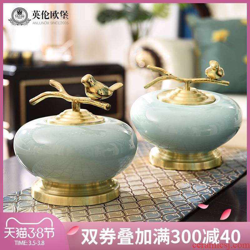 American ceramic storage tank furnishing articles sitting room porch TV ark, copper handicrafts creative new Chinese style household ornaments