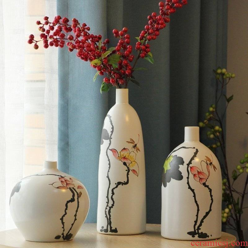 Jingdezhen porcelain creative hand - made of lotus pond mesa vase with modern Chinese rural American room sitting room furnishing articles
