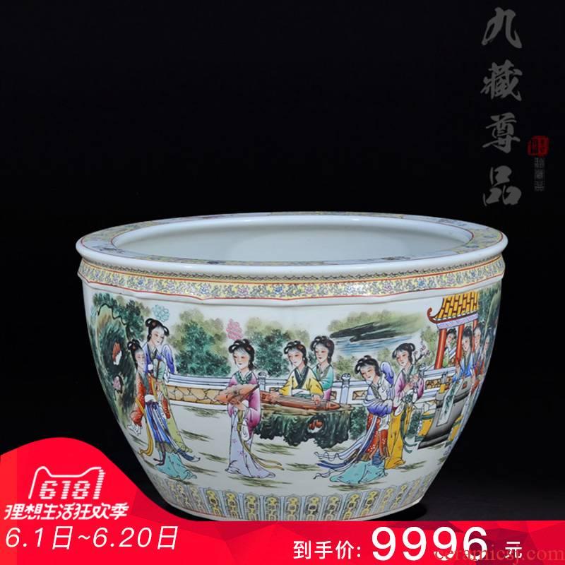 Archaize of jingdezhen ceramics powder enamel handpainted twelve gold hair pin cylinder living room TV cabinet crafts decoration