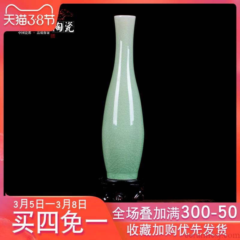 Jingdezhen ceramics dried flower vase archaize ice crack guanyin temple sitting room willow bottles jade net bottle arranging flowers