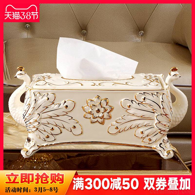 Creative European - style tissue box key-2 luxury high - grade large ceramic pump cartons sitting room tea table decorations peacock furnishing articles