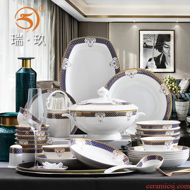 Home European fine ipads China tableware 60 up phnom penh bowl plates spoon head porcelain set combination microwave easy to clean