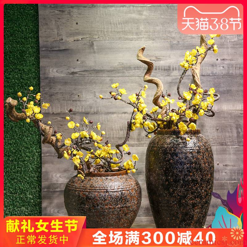 Mesa of jingdezhen ceramic vase restoring ancient ways to decorate the living room TV cabinet office copy furnishing articles table simulation artificial flowers
