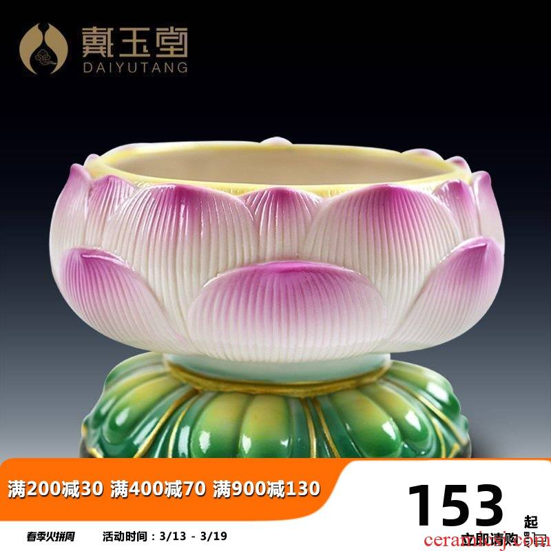 Yutang dai ceramics for Buddha incense buner household indoor Buddha with supplies large furnishing articles 5 inch lotus temple incense buner