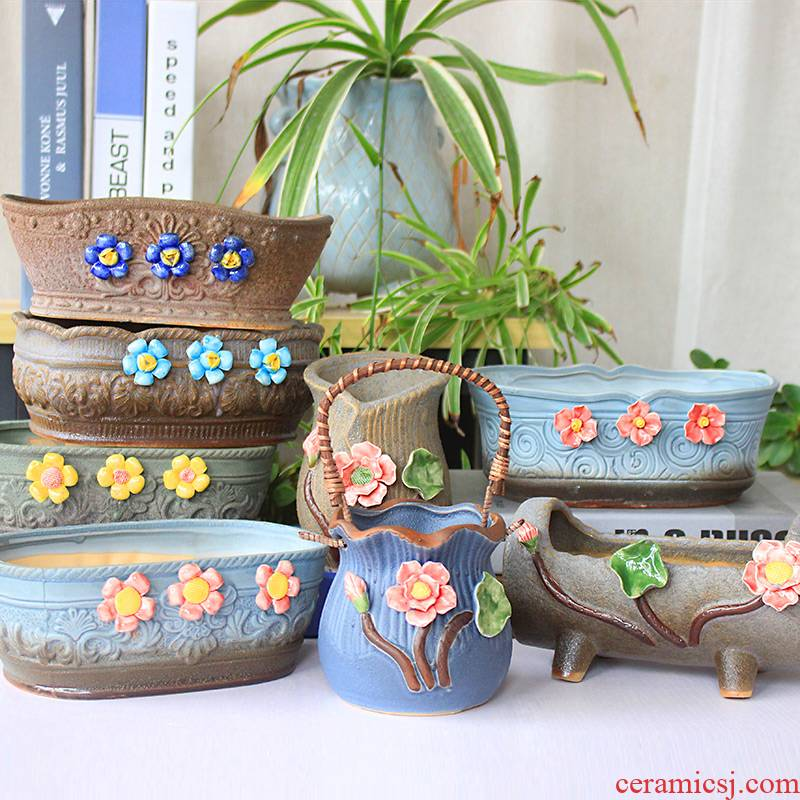 Fleshy flower POTS, large diameter ceramic simple little old running the special offer a clearance package mailed home new coarse pottery plant basin
