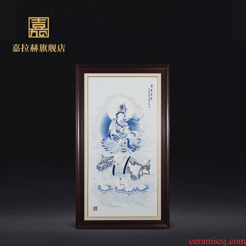 Jia lage jingdezhen ceramic hand - made wall of setting of blue and white porcelain plate painting samantabhadra bodhisattva porch of mural hang a picture