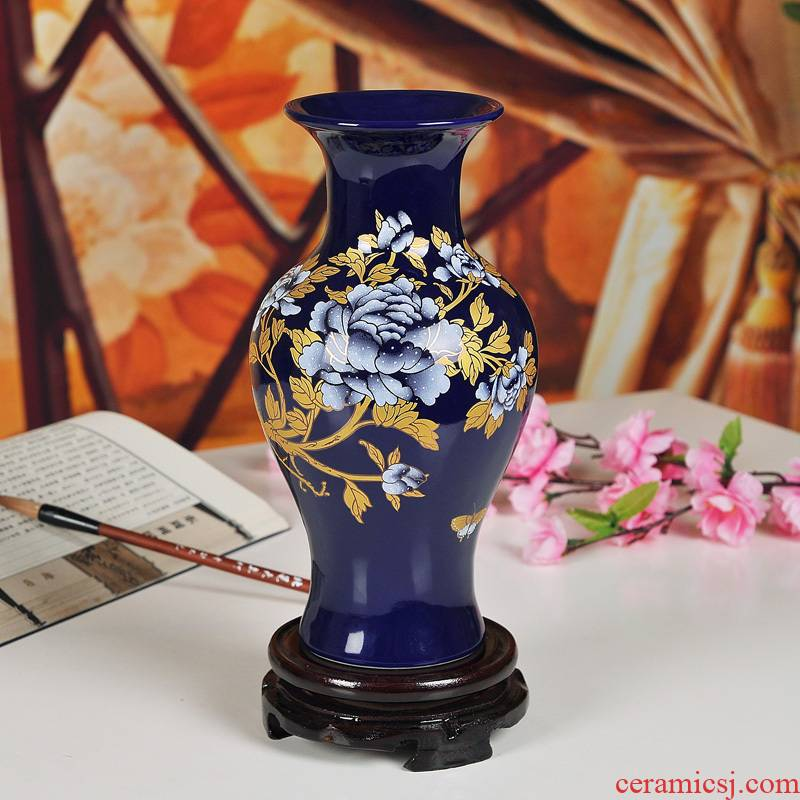 Jingdezhen ceramics blue paint peony vases bottles of Chinese style household act the role of the sitting room of handicraft decoration
