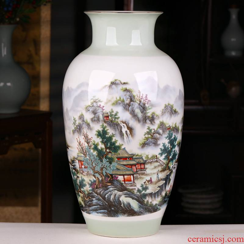 Jingdezhen ceramics landscape painting enamel vase furnishing articles sitting room porch decoration of Chinese style household large arranging flowers