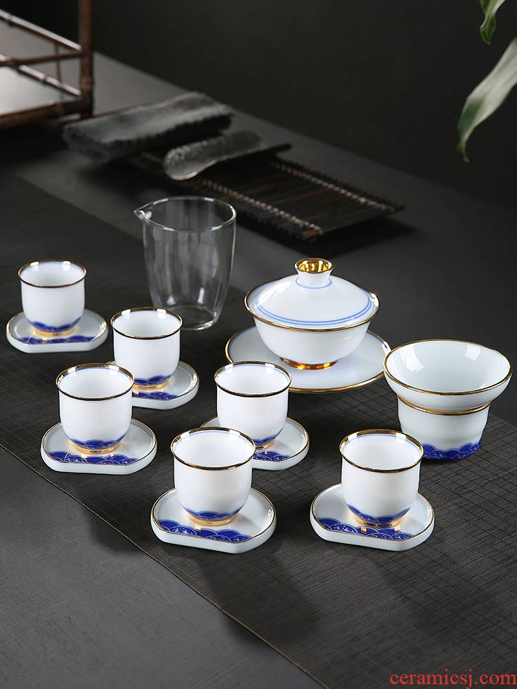 Dehua white porcelain kung fu tea cup set household contracted and I hand - made paint suet jade porcelain ceramic tureen