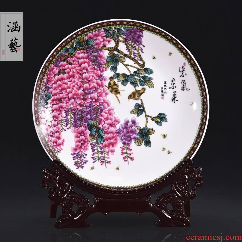 Jingdezhen ceramics powder enamel sabingga sukdun dergici jimbi decorative plate hanging dish sat dish sitting room adornment handicraft furnishing articles