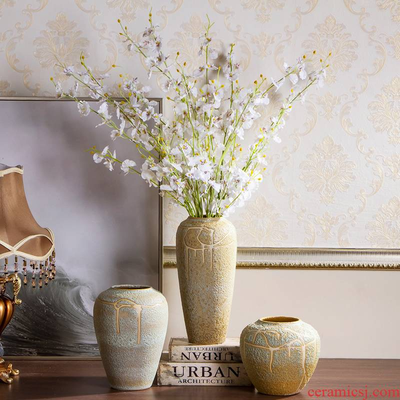 Jingdezhen ceramic vases, flower arranging coarse pottery Chinese porcelain art restoring ancient ways furnishing articles pottery dry flower vases sitting room