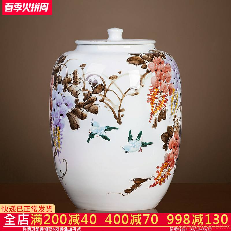 Jingdezhen ceramics hand - made caddy fixings seal storage jar pu - erh tea cake store receives the seventh, peulthai the tea cake tin of large size