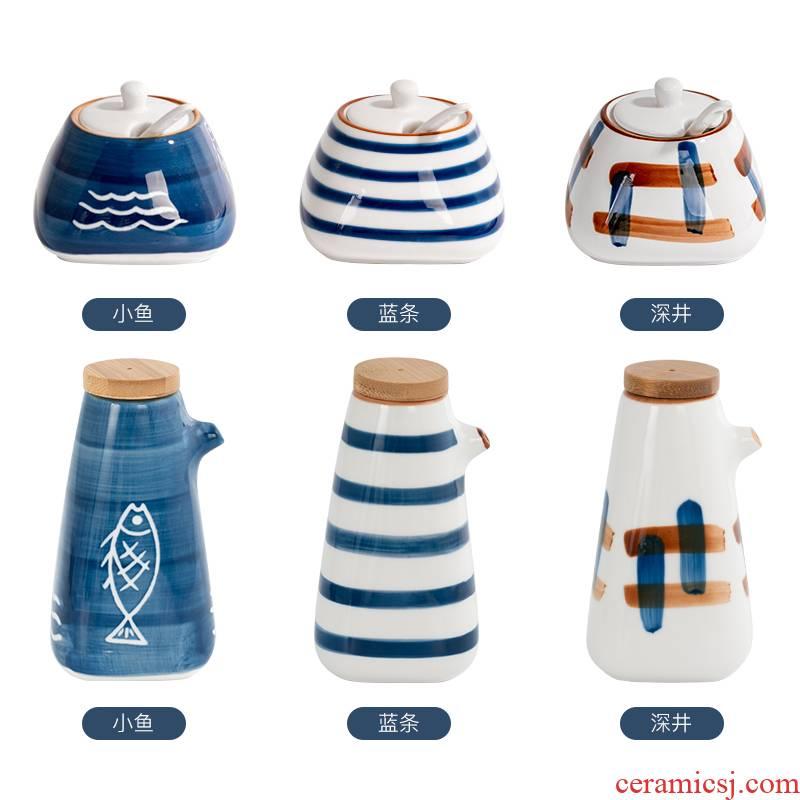 Ceramic seasoning as cans suit Japanese kitchen household put salt jar sauce seasoning bottle box of caster 3 times