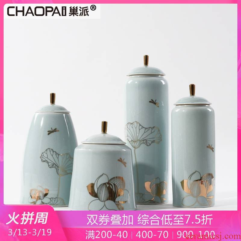 New Chinese style tank cyan porcelain lotus leaf in home furnishing articles sample room tea house sitting room porch window decorations