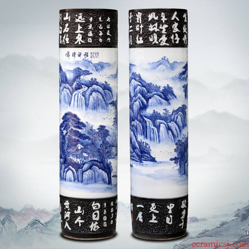 Jingdezhen ceramic vase of large sitting room adornment large - sized quiver furnishing articles hand - made of blue and white porcelain hotel gift