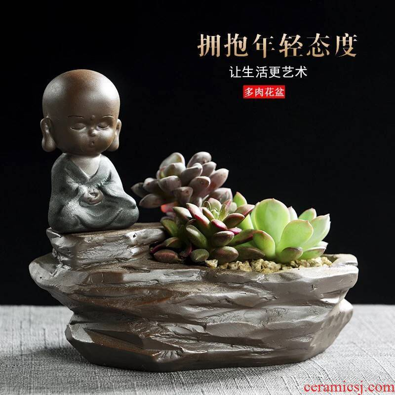 The little novice monk creative fleshy flowerpot violet arenaceous coarse pottery breathable flesh character desktop cartoon specials flower pot The plants